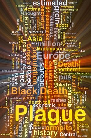 plague: Background concept wordcloud illustration of plague glowing light Stock Photo