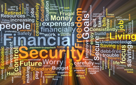 financial security: Background concept wordcloud illustration of financial security glowing light Stock Photo