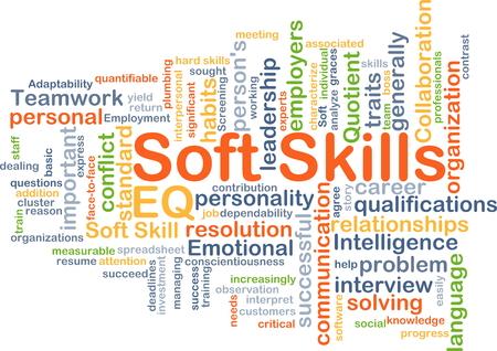 Background concept wordcloud illustration of soft skills
