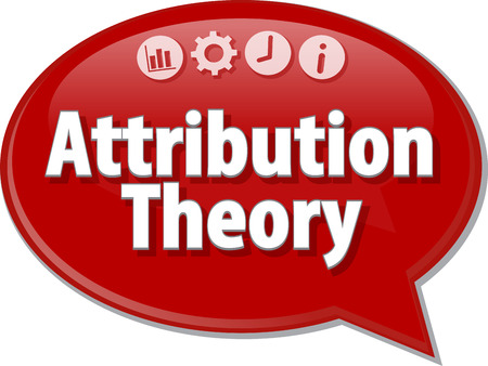 attribution: Speech bubble dialog illustration of business term saying Attribution Theory