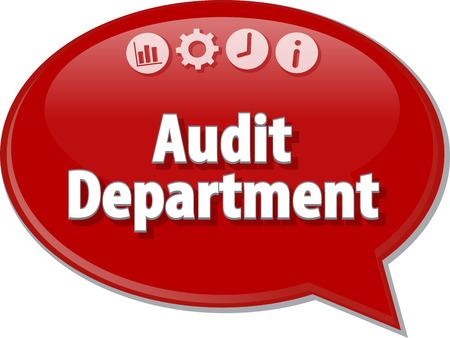 finance department: Speech bubble dialog illustration of business term saying Audit Department Finance