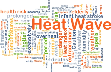 overheat: Background concept wordcloud illustration of heat wave Stock Photo