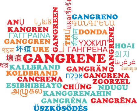 decomposition: Background concept wordcloud multilanguage international many language illustration of gangrene Stock Photo
