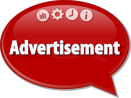 term: Speech bubble dialog illustration of business term saying Advertisement