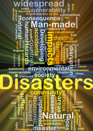manmade: Background concept wordcloud illustration of disasters glowing light