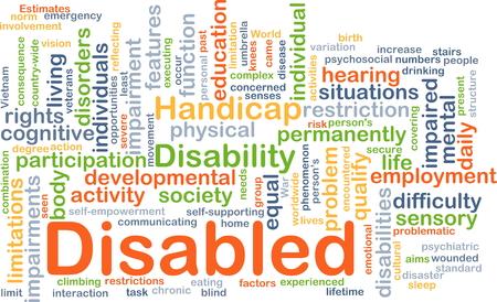 Achtergrond concept wordcloud illustratie van gehandicapte Stockfoto - 43519363