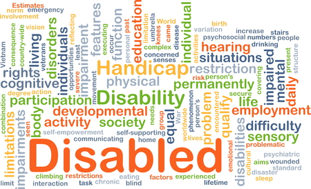 educacion fisica: Ilustración de wordcloud concepto de personas con discapacidad Foto de archivo