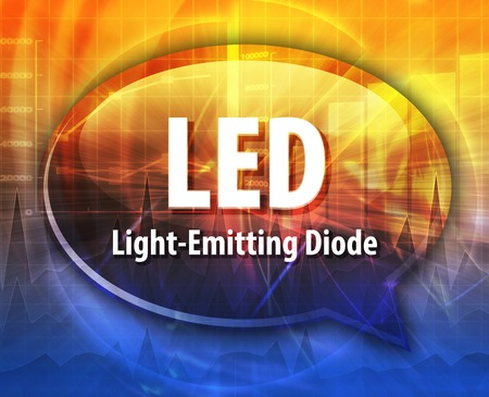 emitting: Speech bubble illustration of information technology acronym abbreviation term definition LED Light Emitting Diode Stock Photo