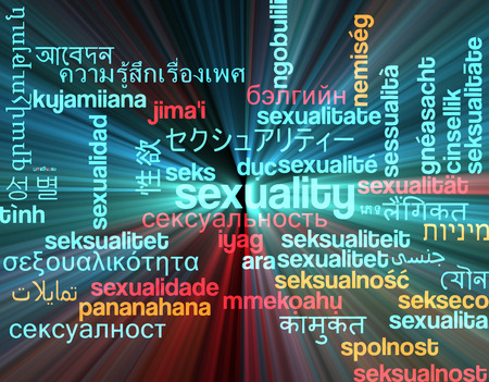 sexuality: Background concept wordcloud multilanguage international many language illustration of sexuality glowing light