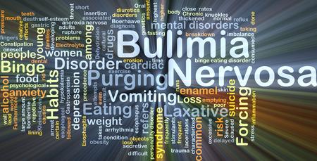 bulimia: Background concept wordcloud illustration of bulimia nervosa glowing light Stock Photo