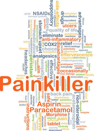 Background concept wordcloud illustration of painkiller