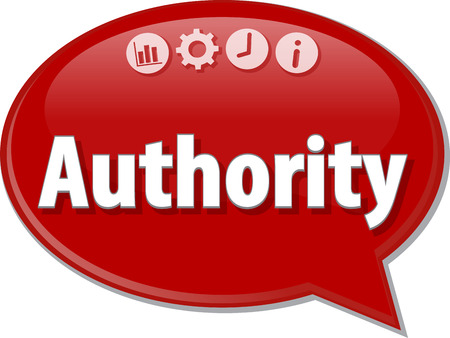 saying: Speech bubble dialog illustration of business term saying Authority