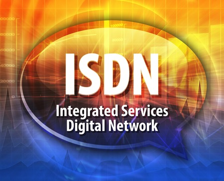 isdn: Speech bubble illustration of information technology acronym abbreviation term definition ISDN Integrated Services Digital Network