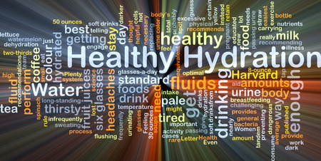 hydrate: Background concept wordcloud illustration of healthy hydration glowing light