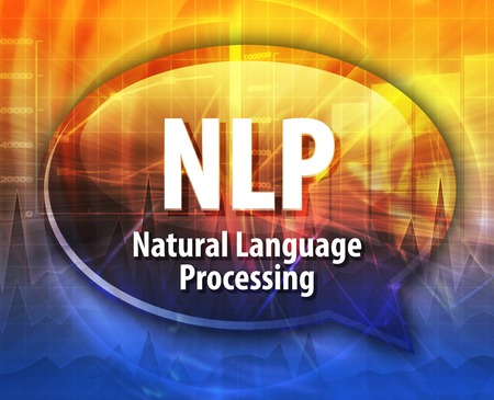 abbreviation: Speech bubble illustration of information technology acronym abbreviation term definition NLP Natural Language Processing Stock Photo