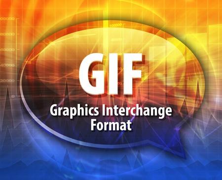 Speech bubble illustration of information technology acronym abbreviation term definition GIF Graphics Interchange Format