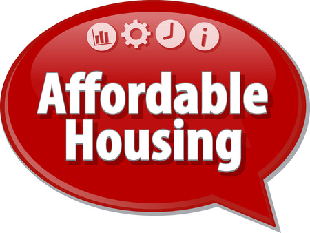 saying: Speech bubble dialog illustration of business term saying affordable housing Stock Photo