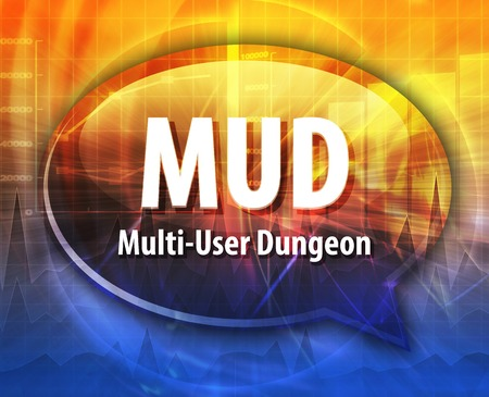 dungeon: Speech bubble illustration of information technology acronym abbreviation term definition MUD Multi User Dungeon Stock Photo