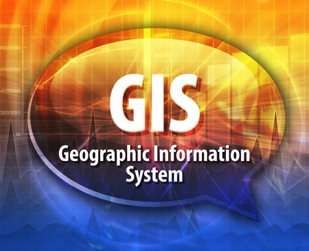 geographical: Speech bubble illustration of information technology acronym abbreviation term definition GIS Geographical Information System Stock Photo