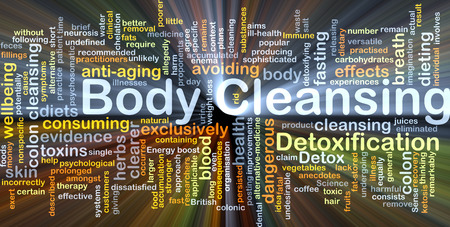 Background concept wordcloud illustration of body cleansing glowing light