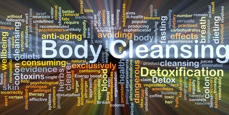 Achtergrond concept wordcloud illustratie van het lichaam reinigen gloeiende licht