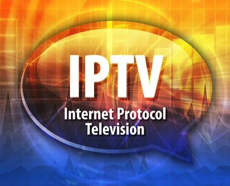 iptv: Speech bubble illustration of information technology acronym abbreviation term definition IPTV Internet Protocol Television Stock Photo