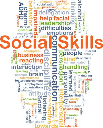 delegation: Background concept wordcloud illustration of social skills