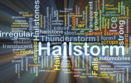 hailstorm: Background concept wordcloud illustration of hailstorm glowing light