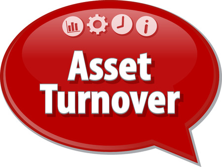 saying: Speech bubble dialog illustration of business term saying Asset Turnover