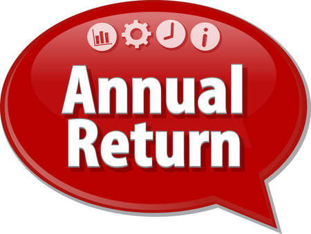 saying: Speech bubble dialog illustration of business term saying Annual return Stock Photo