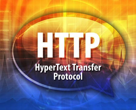 hypertext: Speech bubble illustration of information technology acronym abbreviation term definition HTTP Hypertext Transfer Protocol Stock Photo