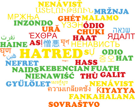 hatred: Background concept wordcloud multilanguage international many language illustration of hatred