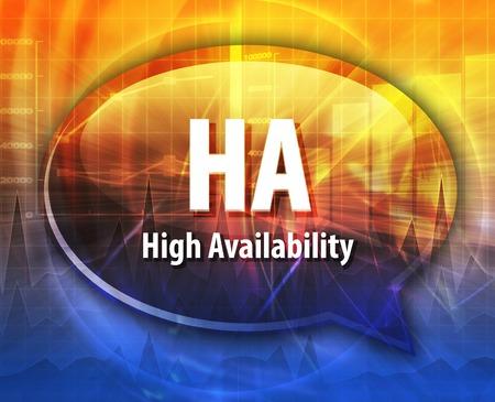 Speech bubble illustration of information technology acronym abbreviation term definition HA High Availability