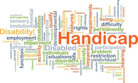 problematic: Background concept wordcloud illustration of handicap