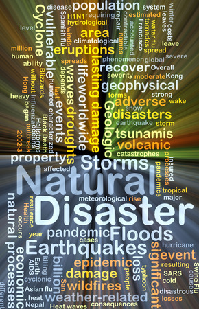 geophysical: Background concept wordcloud illustration of natural disaster glowing light