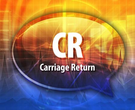 cr: Speech bubble illustration of information technology acronym abbreviation term definition CR Carriage Return