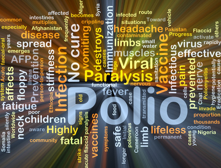 paralysis: Background concept wordcloud illustration of polio glowing light