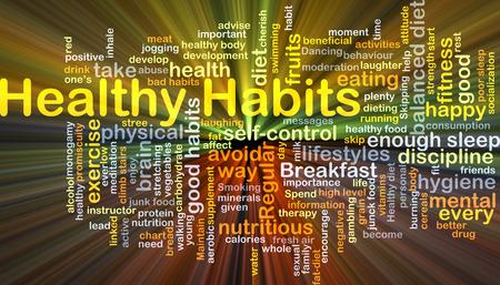habitos saludables: Ilustración de fondo wordcloud concepto de hábitos saludables brillando la luz Foto de archivo