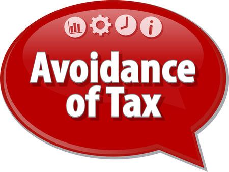 세금의 회피를 말하는 비즈니스 용어의 연설 거품 대화 상자 그림 스톡 콘텐츠