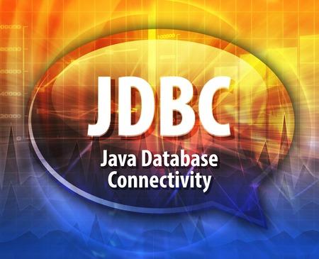 abbreviation: Speech bubble illustration of information technology acronym abbreviation term definition JDBC Java Database Connectivity