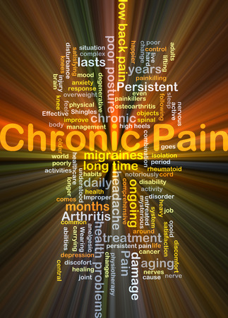 nerve damage: Background concept wordcloud illustration of chronic pain glowing light