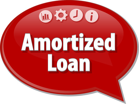 term: Speech bubble dialog illustration of business term saying Amortized loan Stock Photo