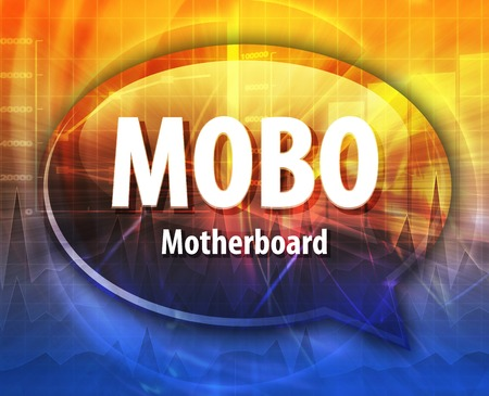 abbreviation: Speech bubble illustration of information technology acronym abbreviation term definition MOBO Motherboard Stock Photo
