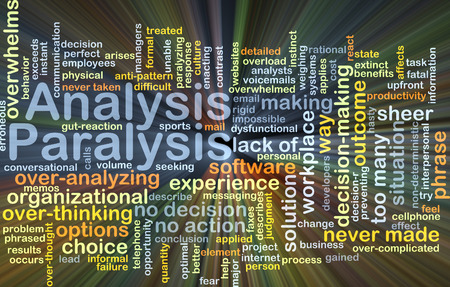 paralysis: Background concept wordcloud illustration of analysis paralysis glowing light Stock Photo