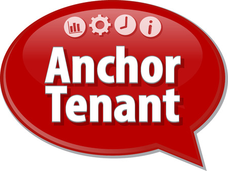 saying: Speech bubble dialog illustration of business term saying Anchor Tenant Stock Photo