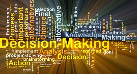 toma de decision: Ilustraci�n de wordcloud concepto de fondo de toma de decisiones de luz brillante