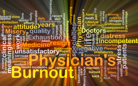 misery: Background concept wordcloud illustration of physician's burnout glowing light Stock Photo