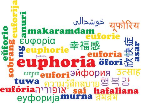 euforia: Concepto de fondo wordcloud ilustraci�n muchos lengua internacional multilenguaje de euforia