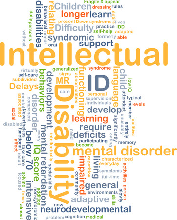 deficits: Background concept wordcloud illustration of intellectual disability ID Stock Photo