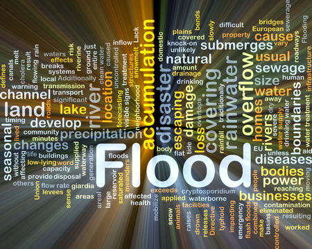 overflow: Background concept wordcloud illustration of flood glowing light Stock Photo